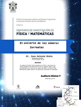 Cartel con texto de fecha, hora y lugar de la Conferencia: El universo de los números surreales