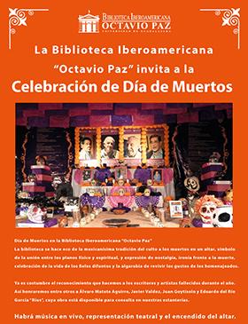 Cartel con texto informativo y de invitación a la celebración de Día de Muertos, donde habrá música en vivo, representación teatral y encendido de altar; el día 3 de noviembre a las 18:00 horas, en la Biblioteca Iberoamericana Octavio Paz.