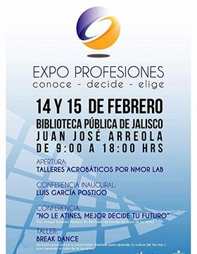Cartel  con fechas, lugar y ponentes de Expo Profesiones,