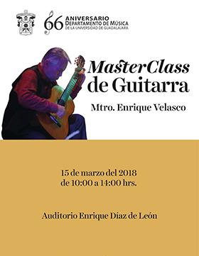 Cartel informativo sobre Master Class de Guitarra, el día 15 de marzo, de 10:00 a 14:00 h. en el Auditorio Enrique Díaz de León Morelos No. 191, Centro Histórico, Guadalajara, Jalisco