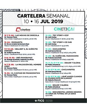 Folleto informativo con la cartelera semanal de la Cineteca FICG. Del 10 al 16 de julio. Cineforo Universidad y Cineteca del FICG