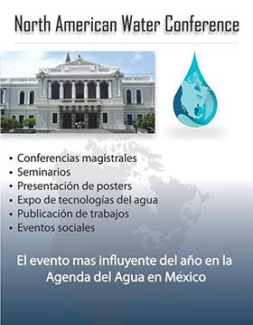 Cartel con texto de lugar, dia y fecha de North American Water Conference