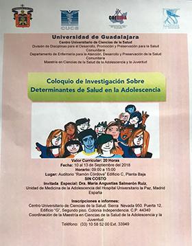 Cartel informativo sobre el Coloquio de Investigación sobre Determinantes de Salud en la Adolescencia, Del 10 al 13 de septiembre, de 9:00 a 15:00 h. en el Auditorio Ramón Córdova, CUCS