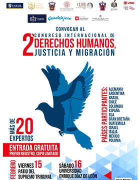 Cartel informativo sobre el 2° Congreso Internacional de Derechos Humanos Justicia y Migración, 15 y 16 de Febrero