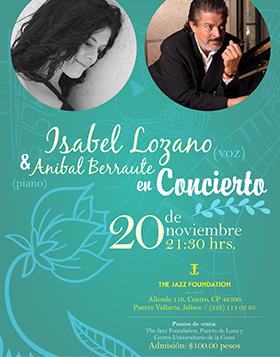 Cartel con información del evento con imagen Isabel Lozano y Anibal Berraute