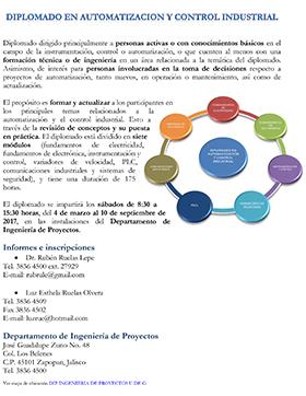 """Cartel con texto informativo del diplomado """"Diplomado en Automatización y Control Industrial"""""""