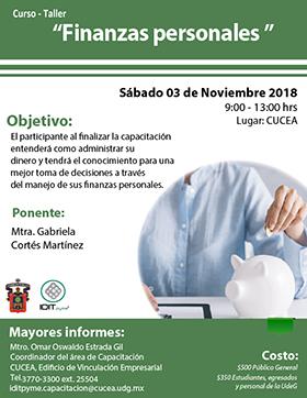 Cartel informativo sobre el Curso-taller: Finanzas personales, el 3 de noviembre, de 9:00 a 13:00 h. en el Centro Universitario de Ciencias Económico Administrativas