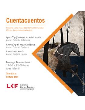 Cartel informativo sobre Cuentacuentos en la Biblioteca Pública del Estado, el día 14 de octubre, de 11:00 a 12:00 h. en el Área infantil de la Librería Carlos Fuentes de la BPEJ