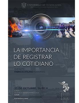 Cartel de la Conferencia del evento del 11 de octubre con el fotografo Fabricio Atilano