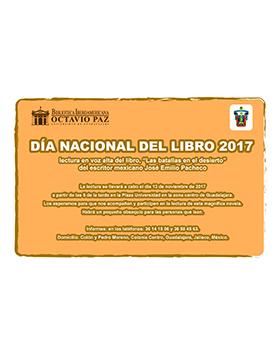 Cartel informativo sobre el Día Nacional del Libro 2017 el día 13 de noviembre, 17:00 h. en Plaza Universidad
