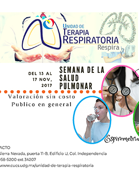 Cartel informativo sobre el evento Semana de la Salud Pulmonar, en el marco del Día Mundial de la Enfermedad Pulmonar Obstructiva Crónica EPOC Del 13 al 17 de noviembre  en el   Centro Universitario de Ciencias de la Salud Sierra Mojada 950, Col. Independencia