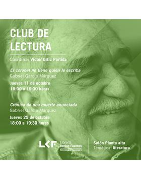Cartel con retrato de Gabriel Garcia Marquez del Evento a realizarse el 11 de octubre en la Libreria Carlos Fuentes