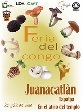 Cartel informativo sobre la 2da Feria del Congo los días 21 y 22 de julio, en el atrio de Juanacatlán, Tapalpa