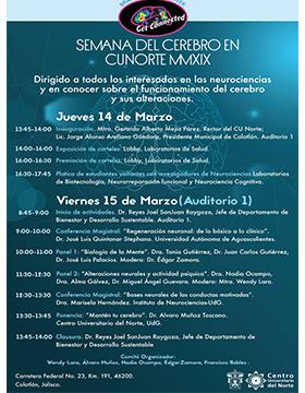 Cartel informativo de la Semana del Cerebro en CUNorte MMXIX. A realizarse el 14 y 15 de marzo, en el Centro Universitario del Norte.