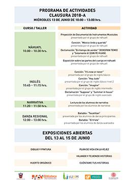 Cartel informativo sobre las Presentaciones y exposiciones, ciclo 2018-A del Sistema Universitario Del Adulto Mayor (SUAM UDG), el día 13 de junio en la  Biblioteca Pública del Estado de Jalisco, sede Agua Azul