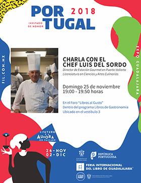 Cartel informativo sobre la Charla con el chef Luis del Sordo, el 25 de noviembre, a las 19:00 h. en el Vestíbulo 3, Expo Guadalajara