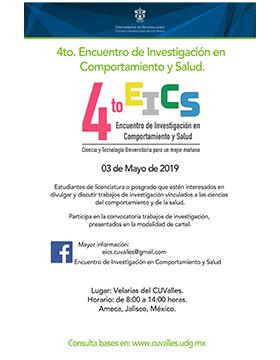 Cartel informativo del Cuarto Encuentro de Investigación en Comportamiento y Salud. A realizarse el 3 de mayo, de 8:00 a 14:00 horas, en Velarias del CUValles.