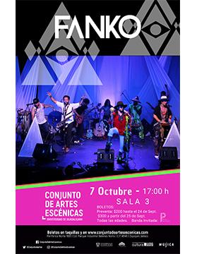 Cartel informativo sobre la Presentación de FANKO, el 7 de octubre, a las 17:00 h. en la Sala 3, Conjunto de Artes Escénicas