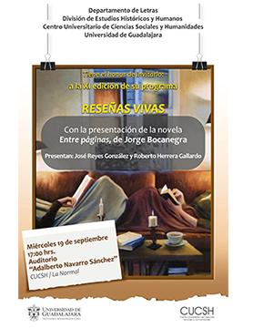 Cartel informativo sobre el XI edición del programa Reseñas Vivas, 19 de septiembre, 17:00 h. en el Auditorio Adalberto Navarro Sánchez, CUCSH La Normal