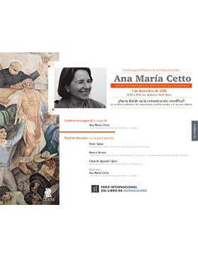 """Cartel con texto de la Cátedra para la Difusión de la Cultura Científica e imagen de """"Ana María Cetto"""""""