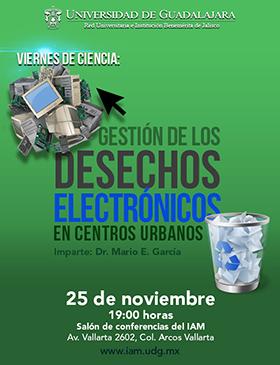 Cartel con texto y dibujo de desecho electrónico y cesto con logotipo de reciclado
