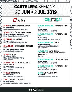 Folleto informativo de la Cartelera semanal del Cineforo Universidad y Cineteca FICG. A realizarse del 26 de junio al 2 de julio