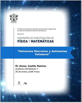 Cartel con texto de la conferencia Universos discretos y autómatas celulares