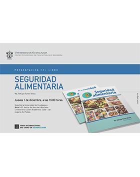 Cartel con texto y portada del libro: Seguridad alimentaria