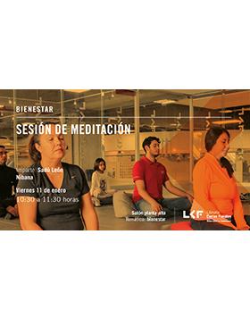 Cartel informativo sobre la Sesión de meditación en la Librería Carlos Fuentes, el 11 de enero, a las 10:30 h. en el Salón planta alta, Librería Carlos Fuentes