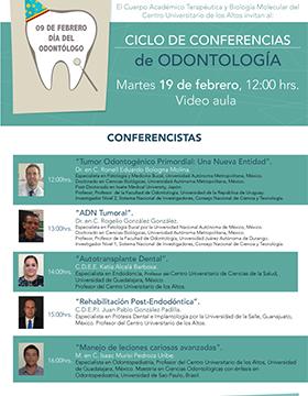 """Cartel informativo sobre el Ciclo de conferencias de odontología """"Pierre Fauchard"""", el 19 de febrero, 12:00 h. en la Video aula del CUAltos"""