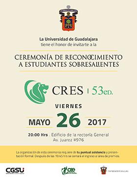 Cartel con texto informativo e invitación a la 53° Ceremonia de Reconocimiento a Estudiantes Sobresalientes, a celebrarse el 26 de mayo a las 20:00 horas, en el Edificio de la Rectoría General.