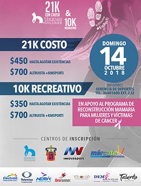 Cartel informativo sobre los 21k con causa & 10k recreativo, en apoyo al programa de reconstrucción mamaria para mujeres y víctimas de cáncer, el 14 de octubre,a las 7:00 h.