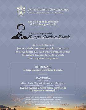 Cartel en fondo azul con dibujo de Enrique Carothers Barreto e información de la Catedra