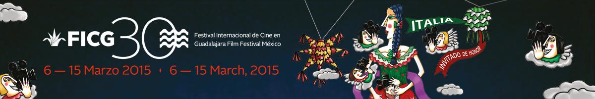 Cartel del FICG30 con una mexicana rodeada de ángeles con cámaras de cine.