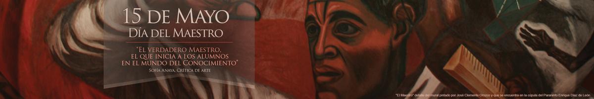 El maestro, detalle del mural de la cúpula del Paraninfo Enrique Díaz de León de José Clemente Orozco.