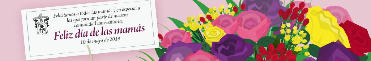 Un arreglo floral con una felicitación a todas las mamás en su día