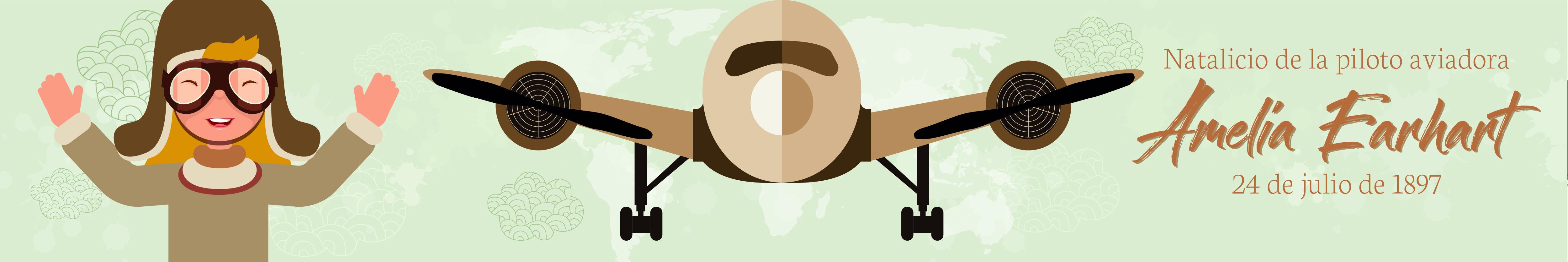 Ilustración dedicada a la aventurera estadounidense de la aviación