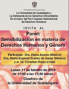 Cartel informativo sobre el Panel: Sensibilización en materia de Derechos Humanos y Género, el 11 de febrero, de 11:00 a 13:30 h. en el Cineforo Universidad