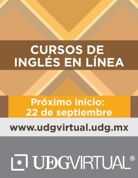 Cartel de invitación para participar en los Cursos de Inglés en Línea, que inicia el 22 de septiembre en UDGVirtual. Se proporciona enlace para consulta y mayores informes.