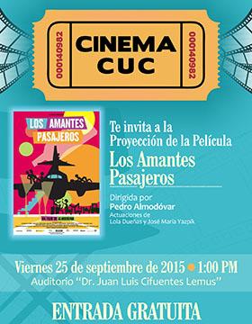 CINEMA CUC invita a la proyección de la película: Los amantes pasajeros
