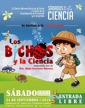 Cartel con texto del evento y dibujo de un niño explorador y bichos