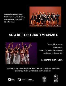 Cartel con texto informativo de la Gala de Danza Contemporánea, a realizarse el 25 de mayo a las 19:00 horas en el centro cultural Constitución, por alumnos de la Licenciatura de Artes Escénicas para la Expresión Dancística de la Universidad de Guadalajara.