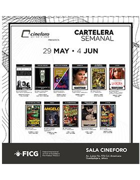 Folleto informativo de la cartelera semanal del Cineforo Universidad, del 29 de mayo al 4 de junio