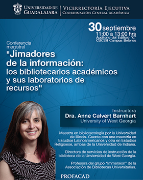 Cartel con texto de la conferencia e imagen de la instructora Dra. Anne Calvert Barnhart, University of West Georgia