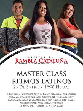 Cartel con texto e imagen de tres bailarines de ritmos latinos