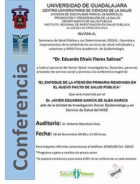 Cartel informativo sobre la Conferencia: El enfoque de la atención primaria renovada en el nuevo pacto de salud pública, el 28 de noviembre, a las 9:00 h. en el Auditorio Dr. Roberto Mendiola Orta, CUCS