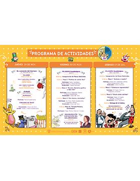 Cartel informativo sobre el 17° Encuentro Internacional de Caricatura e Historieta, Del 29 de noviembre al 1 de diciembre, en Ex convento del Carmen, CUAAD sede Huentitán y Expo Guadalajara