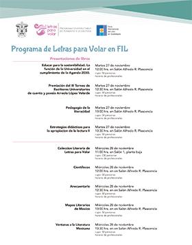 Cartel informativo sobre el Programa de Letras para Volar en FIL, el 27 y 28 de noviembre en el Salón Alfredo R. Plascencia, Expo Guadalajara