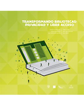 """Cartel informativo sobre el XXXII Coloquio Internacional de Bibliotecarios """"Transformando bibliotecas: Privacidad y libre acceso"""", del 26 al 28 de noviembre, en el Salón de Profesionales, Área Internacional, Expo Guadalajara"""