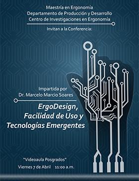 Cartel con fecha, lugar y ponente de  ErgoDesign, Facilidad de Uso y Tecnologías Emergentes